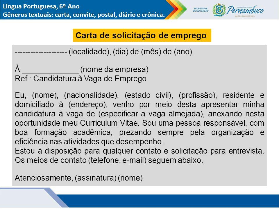 Carta de solicitação de emprego