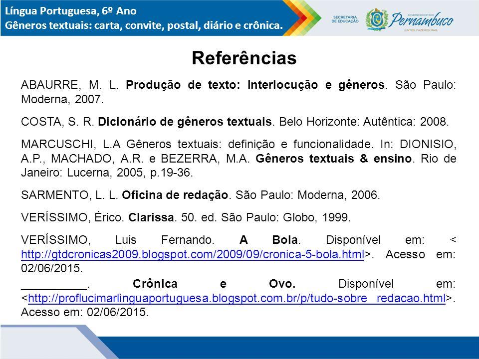 Referências Língua Portuguesa, 6º Ano
