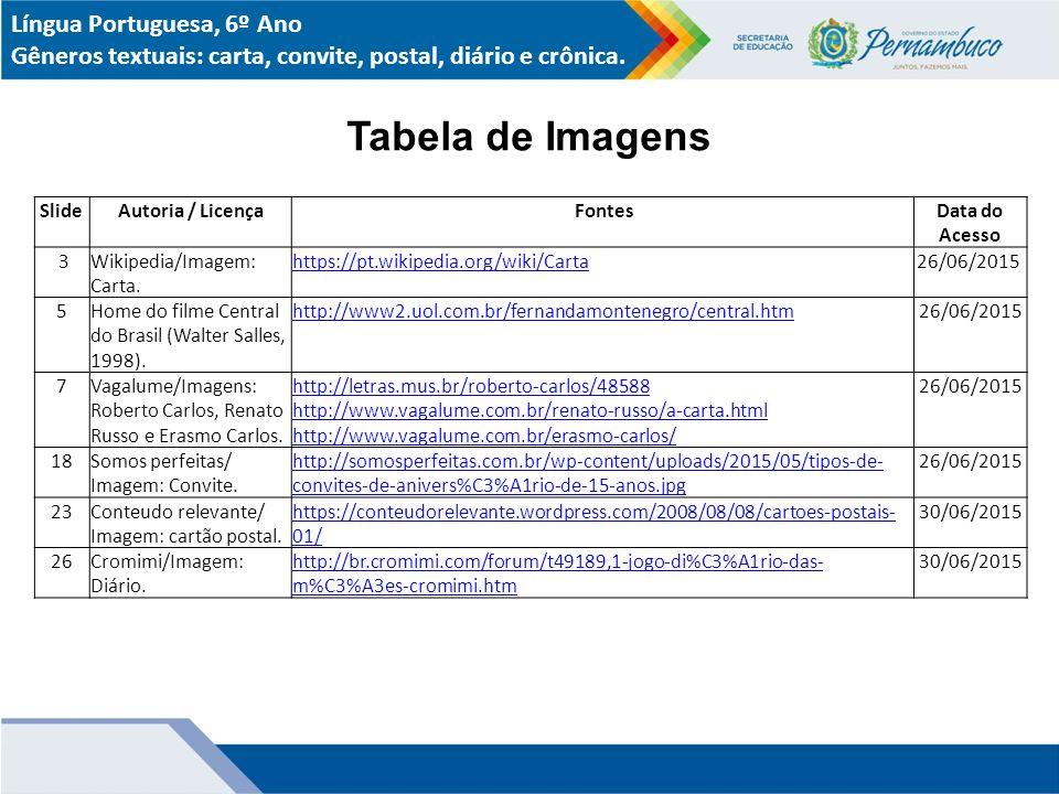 Tabela de Imagens Língua Portuguesa, 6º Ano