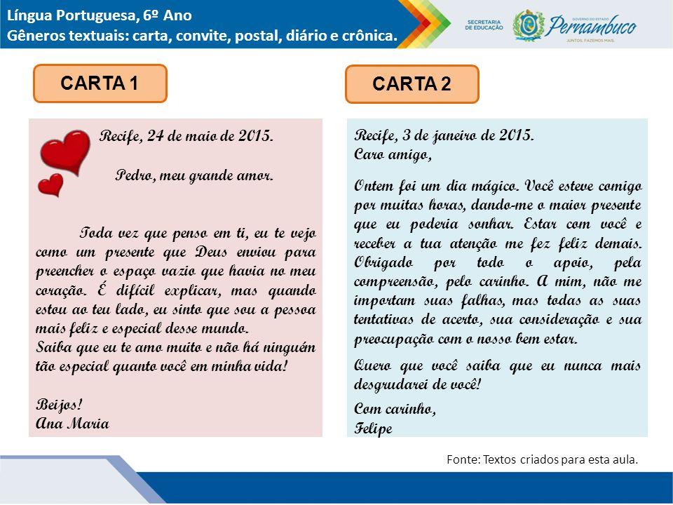 CARTA 1 CARTA 2 Língua Portuguesa, 6º Ano