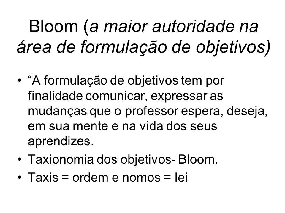 Bloom (a maior autoridade na área de formulação de objetivos)