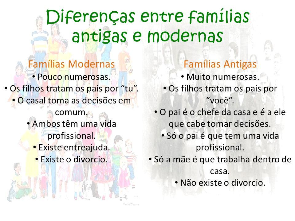 Diferenças entre famílias antigas e modernas