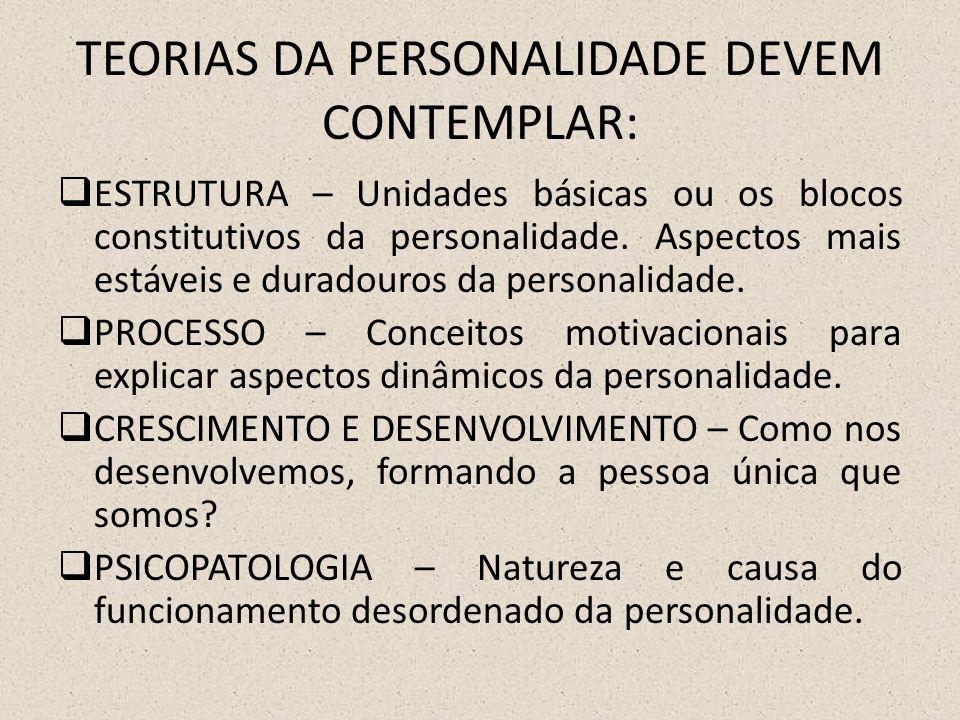 TEORIAS DA PERSONALIDADE DEVEM CONTEMPLAR:
