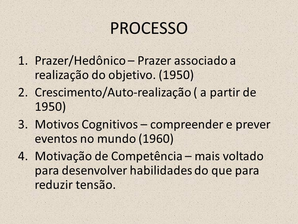 PROCESSO Prazer/Hedônico – Prazer associado a realização do objetivo. (1950) Crescimento/Auto-realização ( a partir de 1950)
