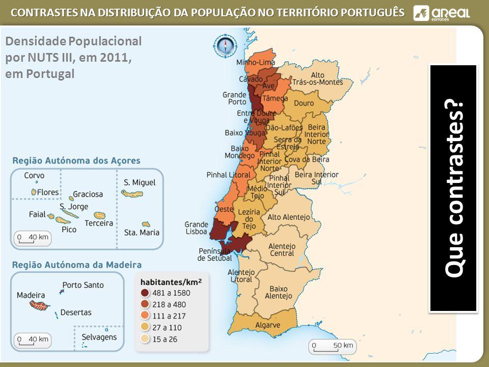 Densidade Populacional por NUTS III, em 2011, em Portugal