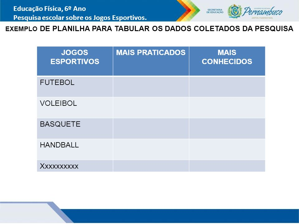 EXEMPLO DE PLANILHA PARA TABULAR OS DADOS COLETADOS DA PESQUISA