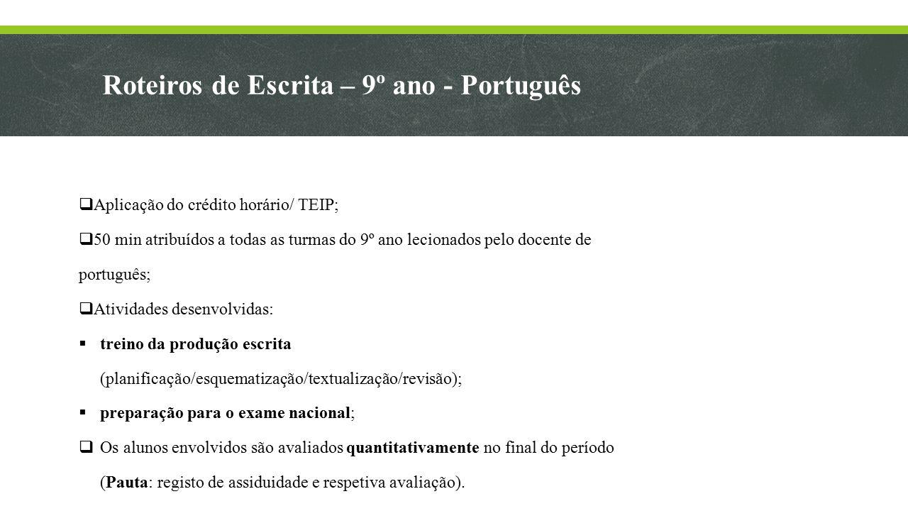 Roteiros de Escrita – 9º ano - Português