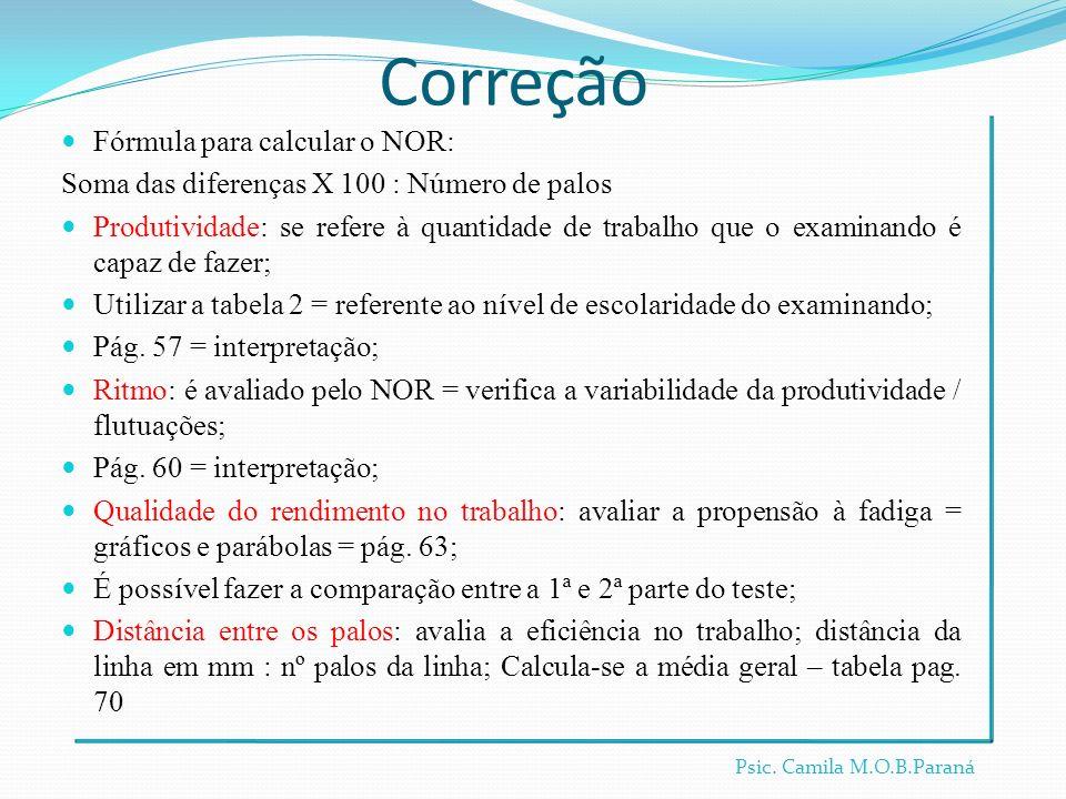 Correção Fórmula para calcular o NOR: