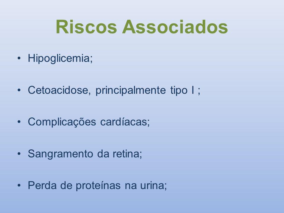 Riscos Associados Hipoglicemia; Cetoacidose, principalmente tipo I ;