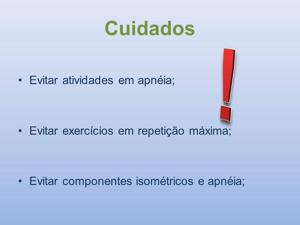 ! Cuidados Evitar atividades em apnéia;