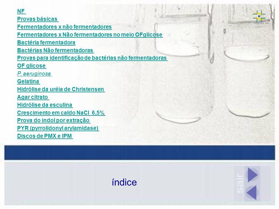 sair índice NF Provas básicas Fermentadores x não fermentadores