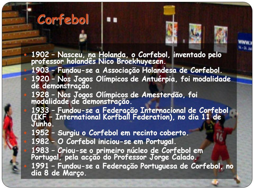 Corfebol 1902 – Nasceu, na Holanda, o Corfebol, inventado pelo professor holandês Nico Broekhuyesen.