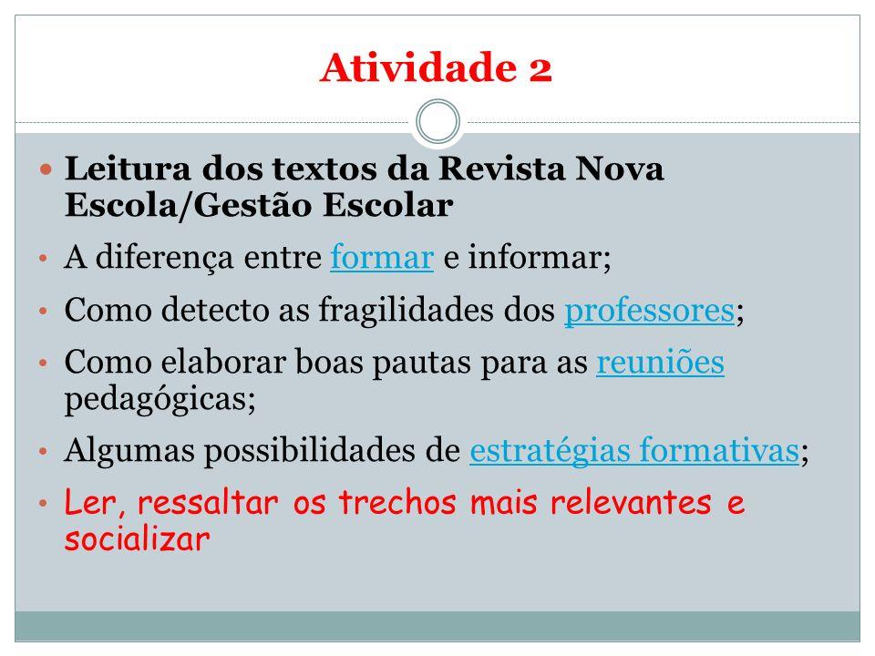 Atividade 2 Leitura dos textos da Revista Nova Escola/Gestão Escolar