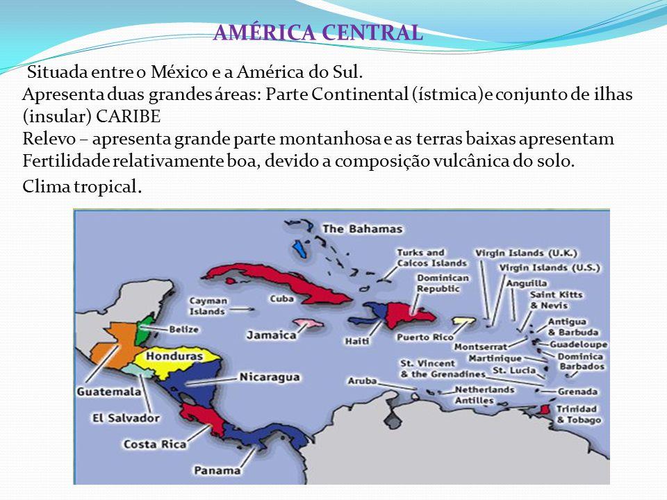 AMÉRICA CENTRAL Situada entre o México e a América do Sul.