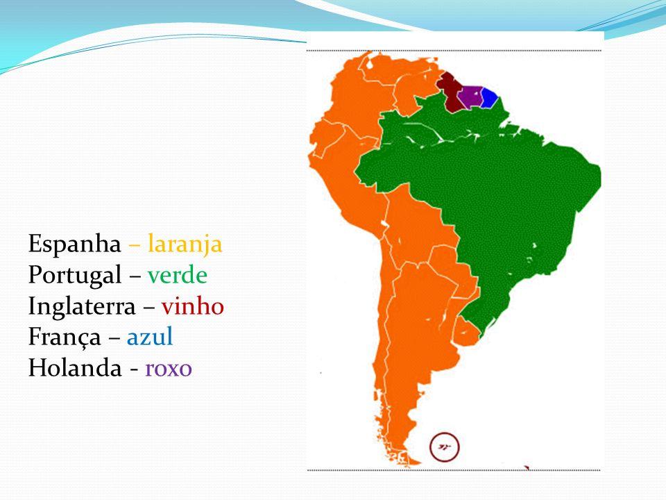 Espanha – laranja Portugal – verde Inglaterra – vinho França – azul Holanda - roxo