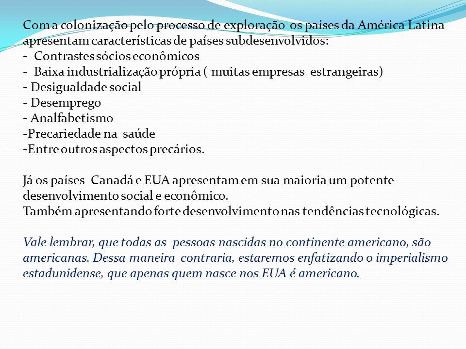 Com a colonização pelo processo de exploração os países da América Latina apresentam características de países subdesenvolvidos: