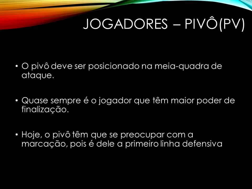 JOGADORES – PIVÔ(PV) O pivô deve ser posicionado na meia-quadra de ataque. Quase sempre é o jogador que têm maior poder de finalização.