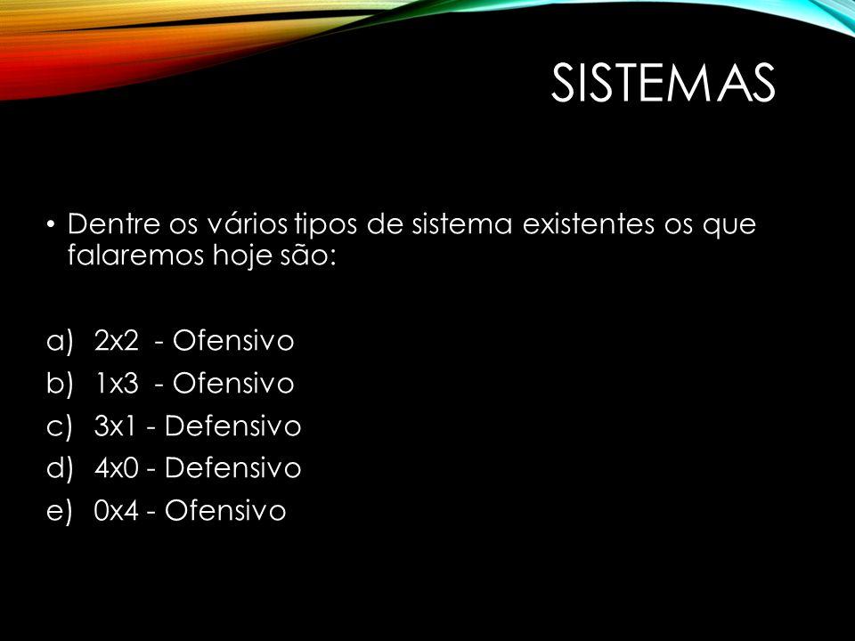 SISTEMAS Dentre os vários tipos de sistema existentes os que falaremos hoje são: 2x2 - Ofensivo.