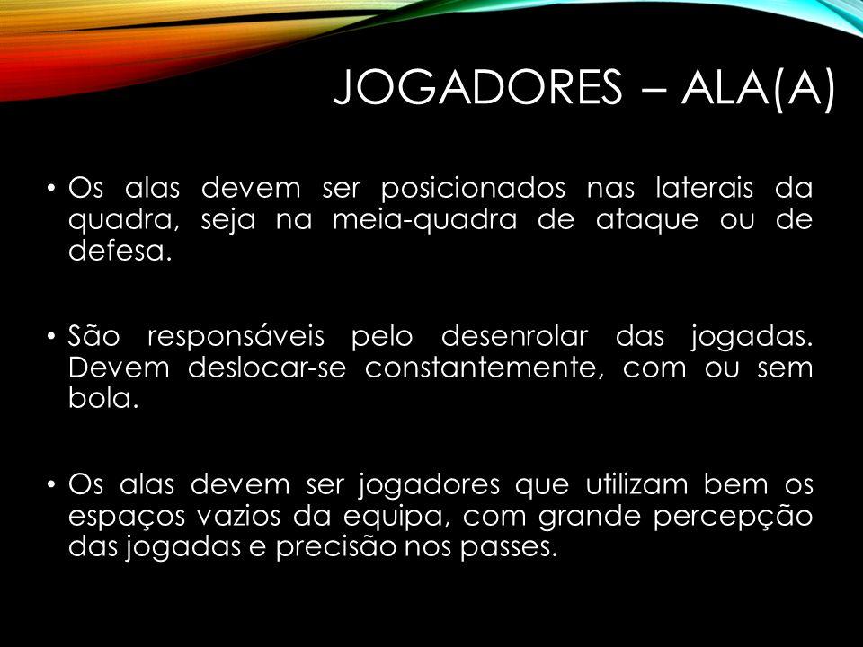JOGADORES – ALA(A) Os alas devem ser posicionados nas laterais da quadra, seja na meia-quadra de ataque ou de defesa.