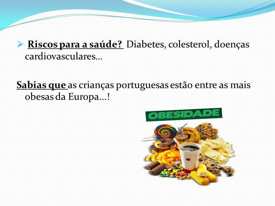 Riscos para a saúde Diabetes, colesterol, doenças cardiovasculares…