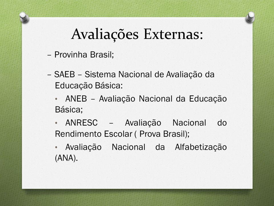 Avaliações Externas: – Provinha Brasil;