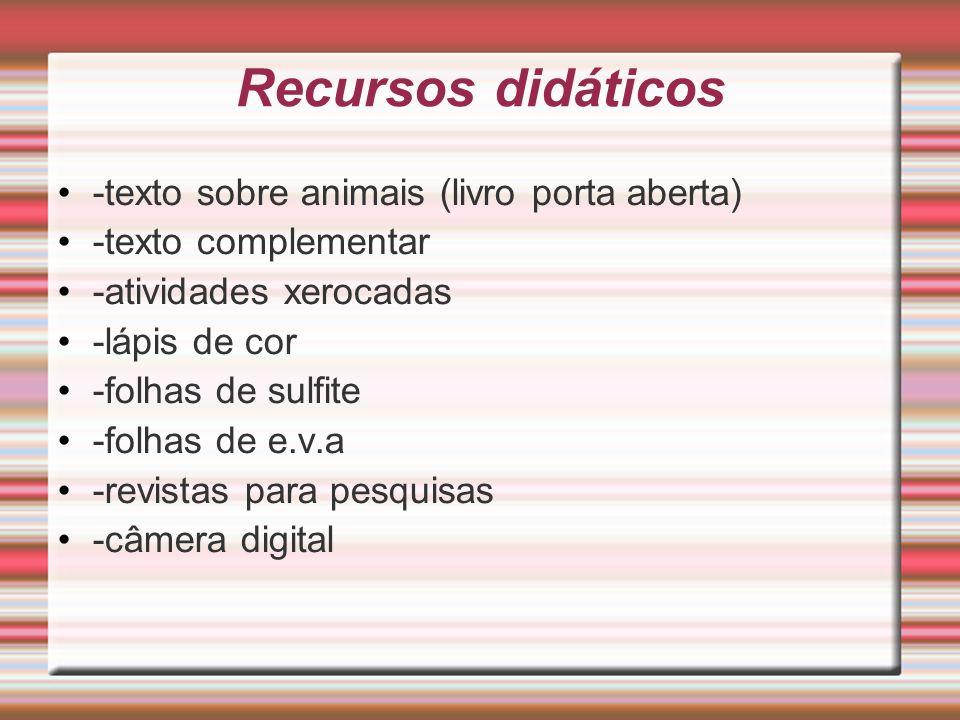 Recursos didáticos -texto sobre animais (livro porta aberta)