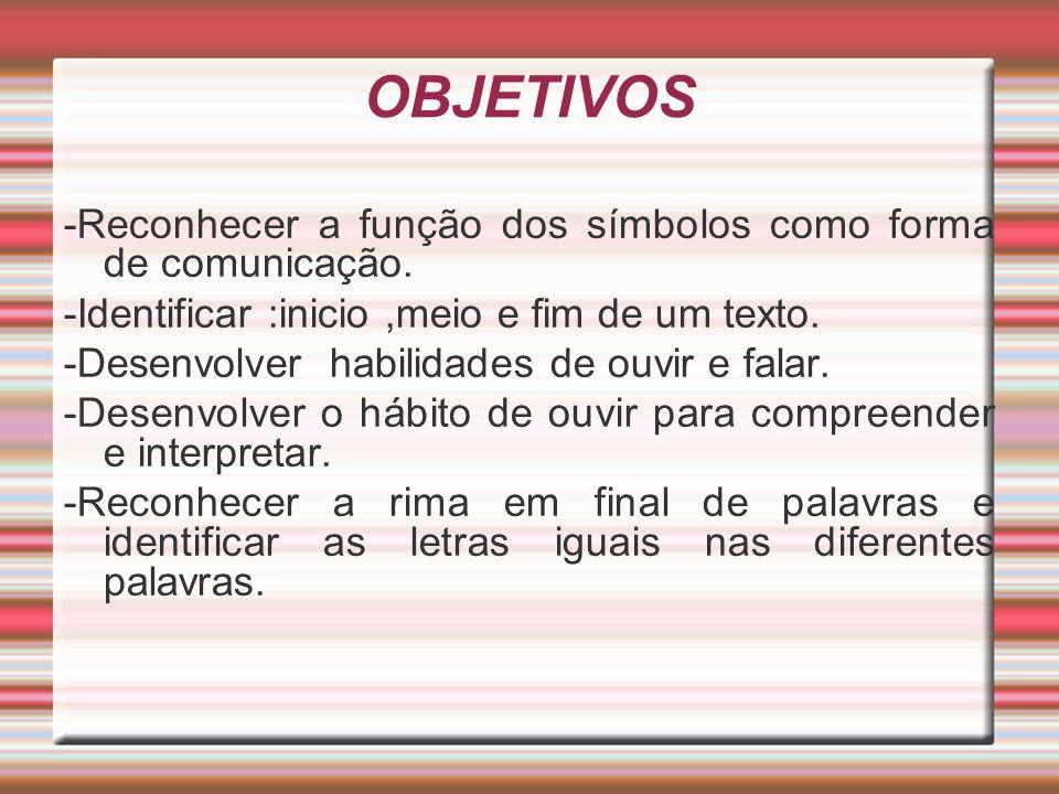 OBJETIVOS -Reconhecer a função dos símbolos como forma de comunicação.