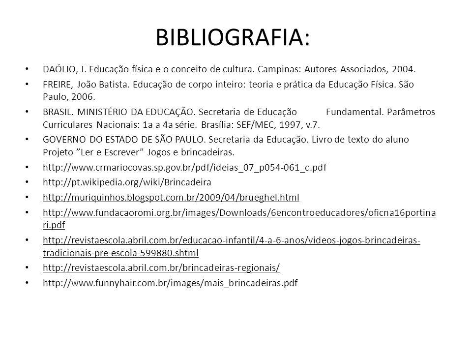 BIBLIOGRAFIA: DAÓLIO, J. Educação física e o conceito de cultura. Campinas: Autores Associados, 2004.