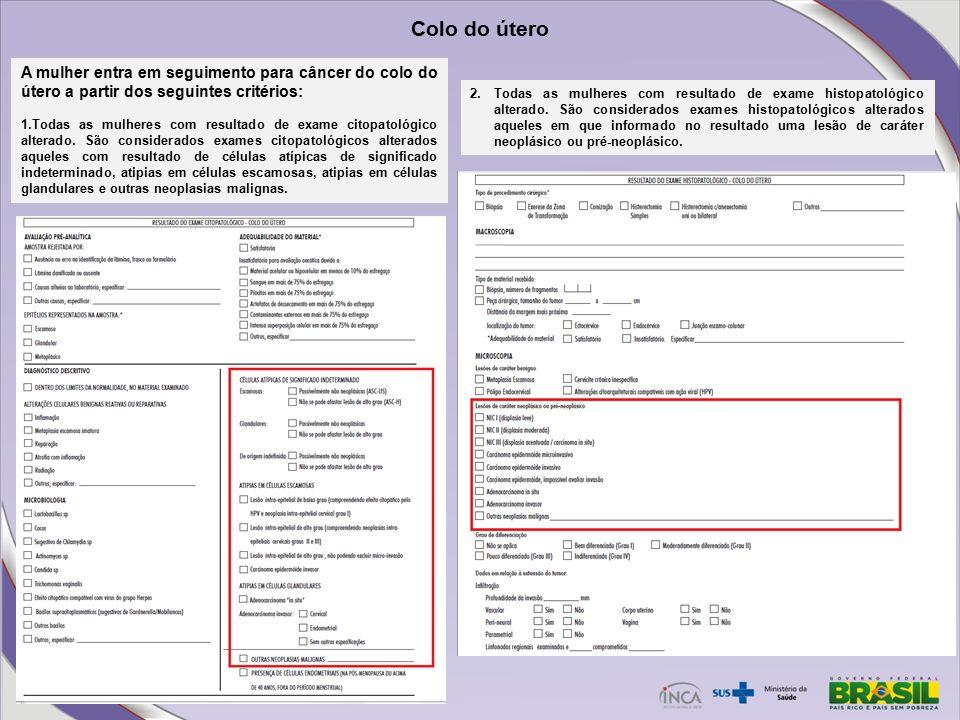 Exame histopatologico do colo do utero