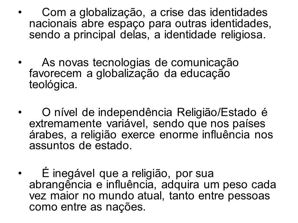 Com a globalização, a crise das identidades nacionais abre espaço para outras identidades, sendo a principal delas, a identidade religiosa.