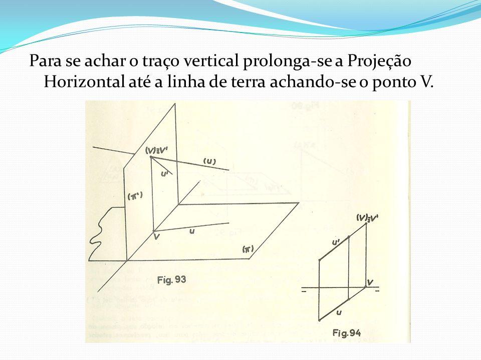 Para se achar o traço vertical prolonga-se a Projeção Horizontal até a linha de terra achando-se o ponto V.