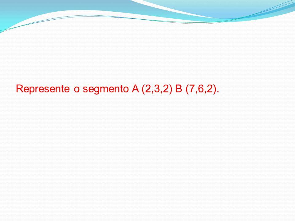 Represente o segmento A (2,3,2) B (7,6,2).
