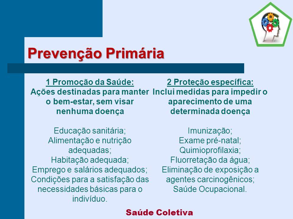 Prevenção Primária 1 Promoção da Saúde: 2 Proteção específica:
