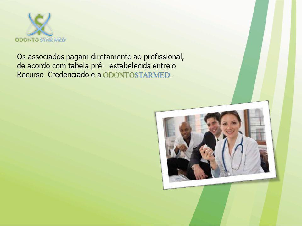 Os associados pagam diretamente ao profissional, de acordo com tabela pré- estabelecida entre o Recurso Credenciado e a ODONTOSTARMED.