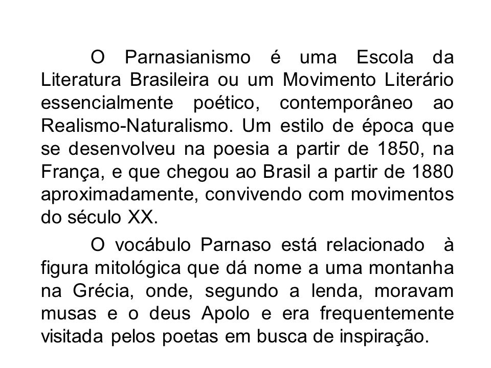 Parnasianismo ppt carregar for Estilo literario contemporaneo
