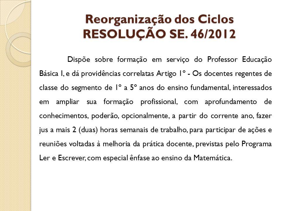Reorganização dos Ciclos RESOLUÇÃO SE. 46/2012