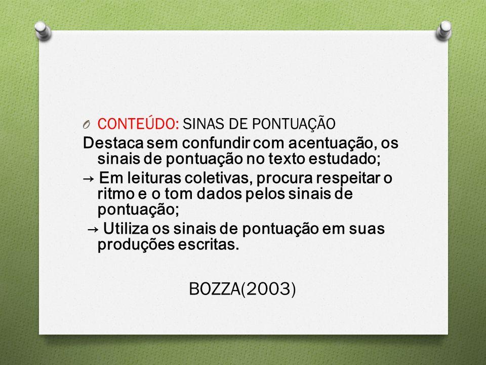 BOZZA(2003) CONTEÚDO: SINAS DE PONTUAÇÃO