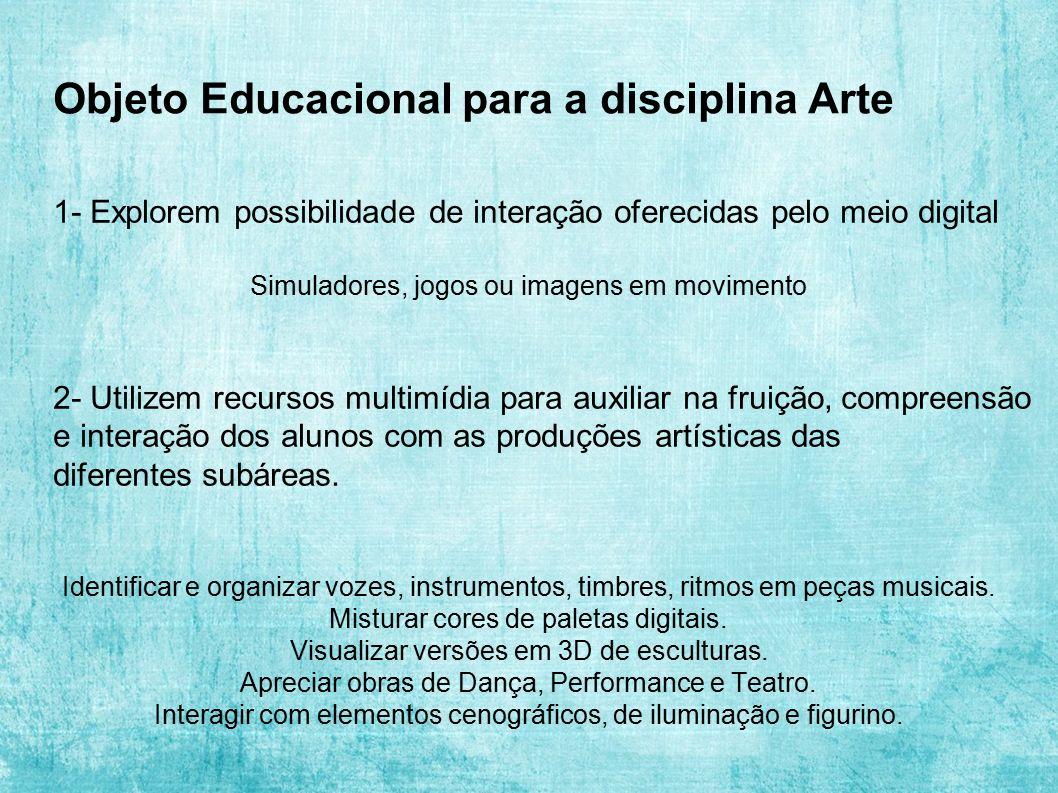 Objeto Educacional para a disciplina Arte