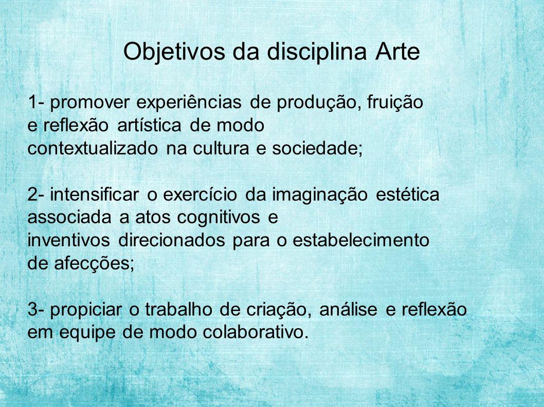 Objetivos da disciplina Arte