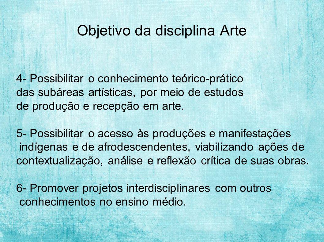 Objetivo da disciplina Arte
