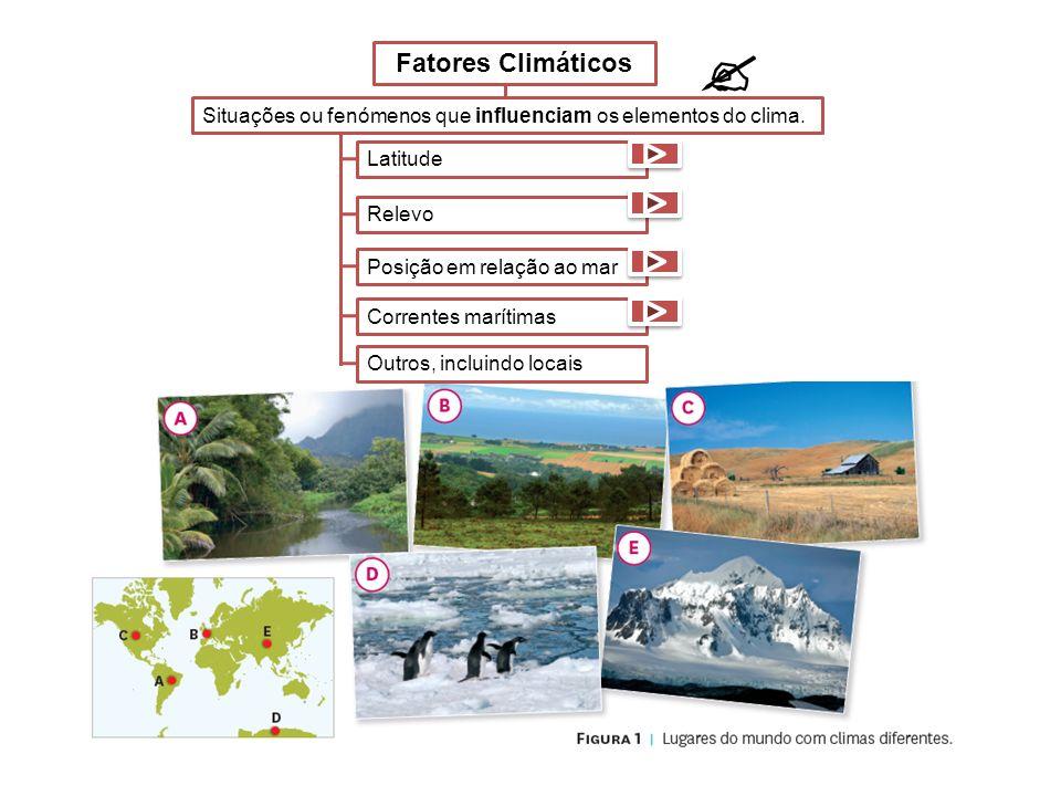  Fatores Climáticos. Situações ou fenómenos que influenciam os elementos do clima. Latitude. Relevo.