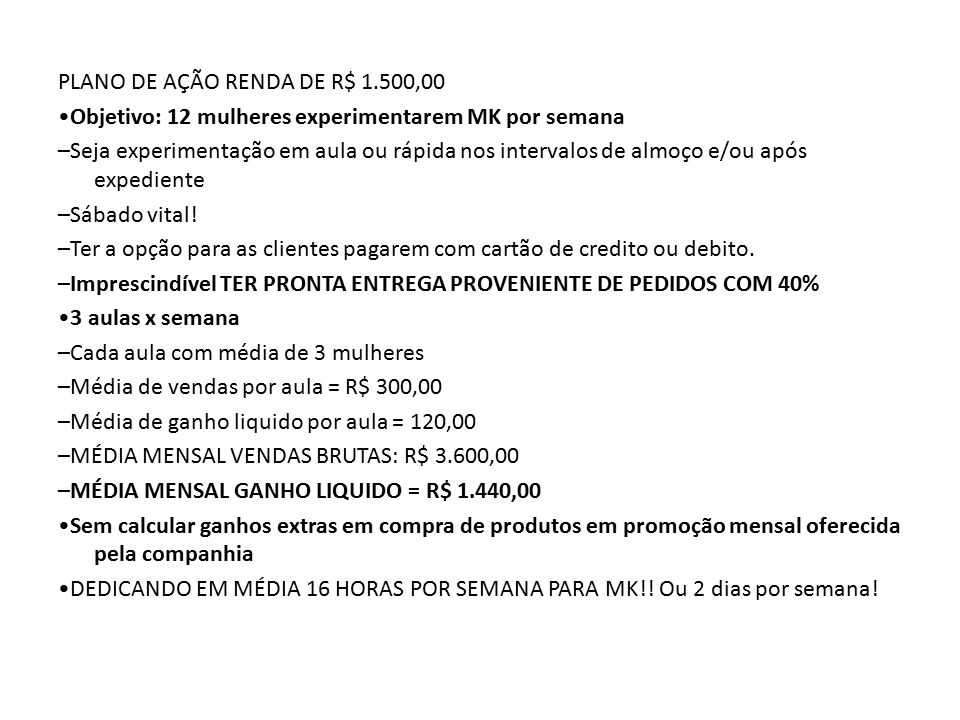 PLANO DE AÇÃO RENDA DE R$ 1.500,00