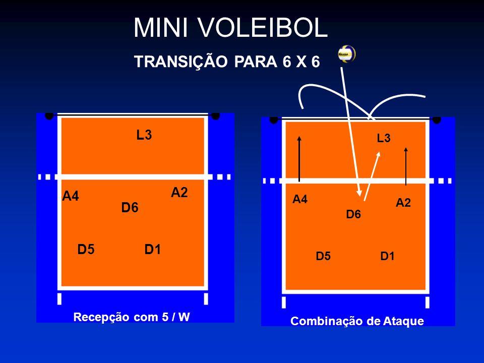 MINI VOLEIBOL TRANSIÇÃO PARA 6 X 6 L3 A2 A4 D6 D5 D1 L3 A4 A2 D6 D5 D1
