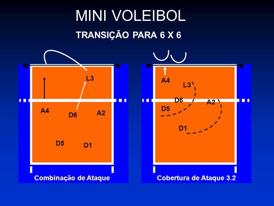 MINI VOLEIBOL TRANSIÇÃO PARA 6 X 6 L3 A4 L3 D6 A2 D5 A4 A2 D6 D1 D5 D1