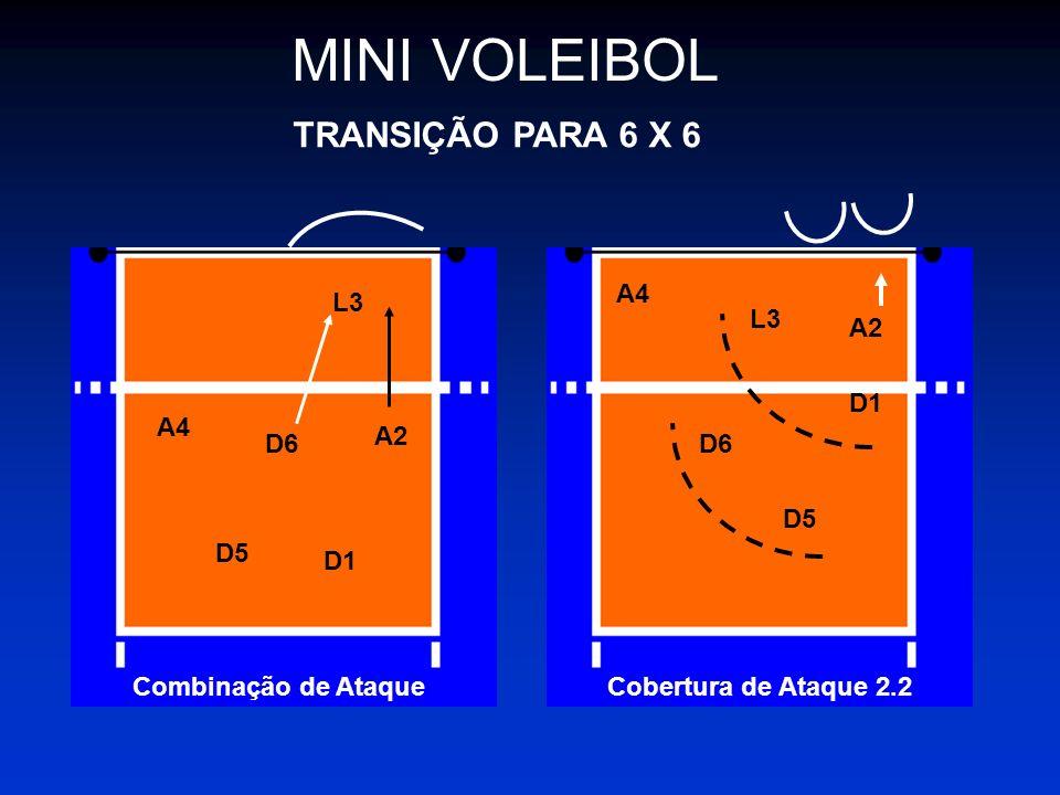 MINI VOLEIBOL TRANSIÇÃO PARA 6 X 6 A4 L3 L3 A2 D1 A4 A2 D6 D6 D5 D5 D1