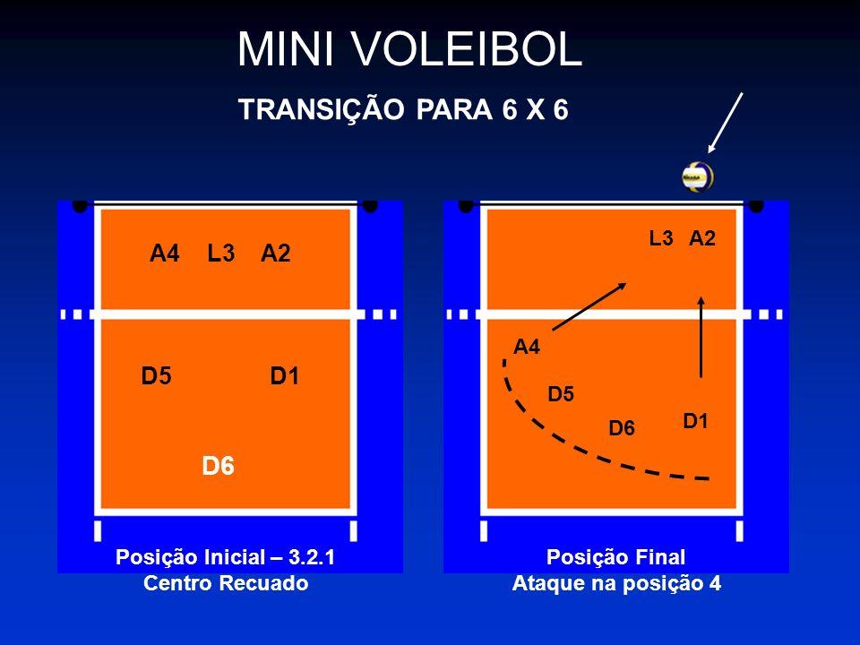 MINI VOLEIBOL TRANSIÇÃO PARA 6 X 6 D6 A4 L3 A2 D5 D1 L3 A2 A4 D5 D1 D6