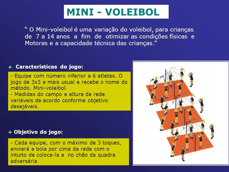 MINI - VOLEIBOL O Mini-voleibol é uma variação do voleibol, para crianças. de 7 a 14 anos a fim de otimizar as condições físicas e.