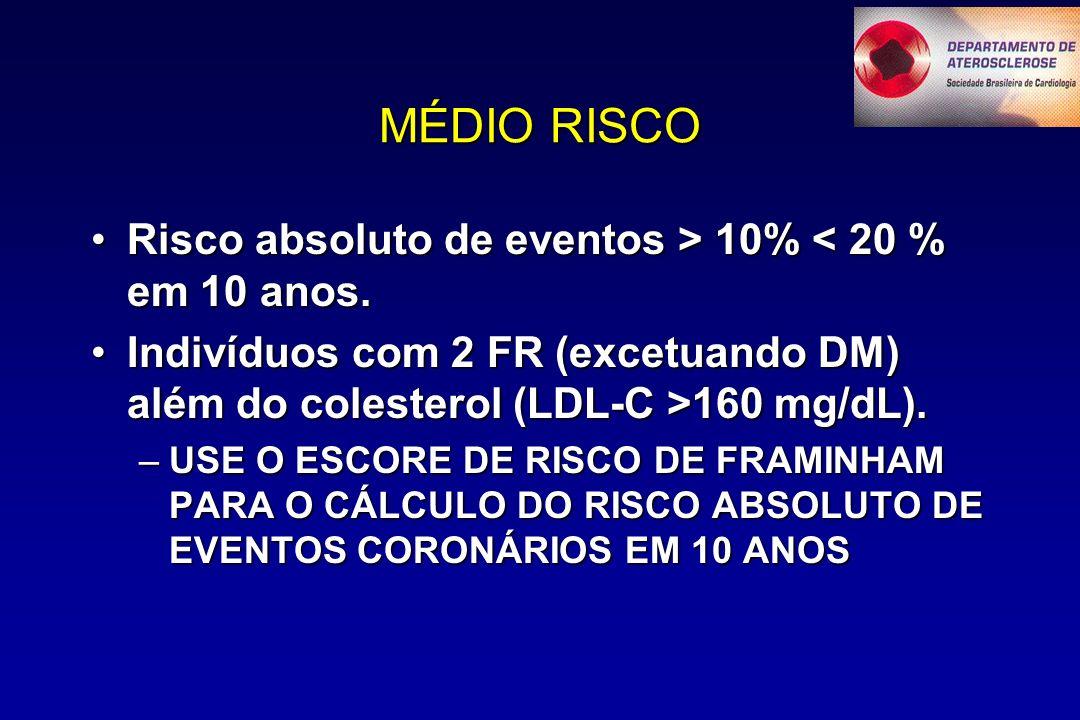 MÉDIO RISCO Risco absoluto de eventos > 10% < 20 % em 10 anos.