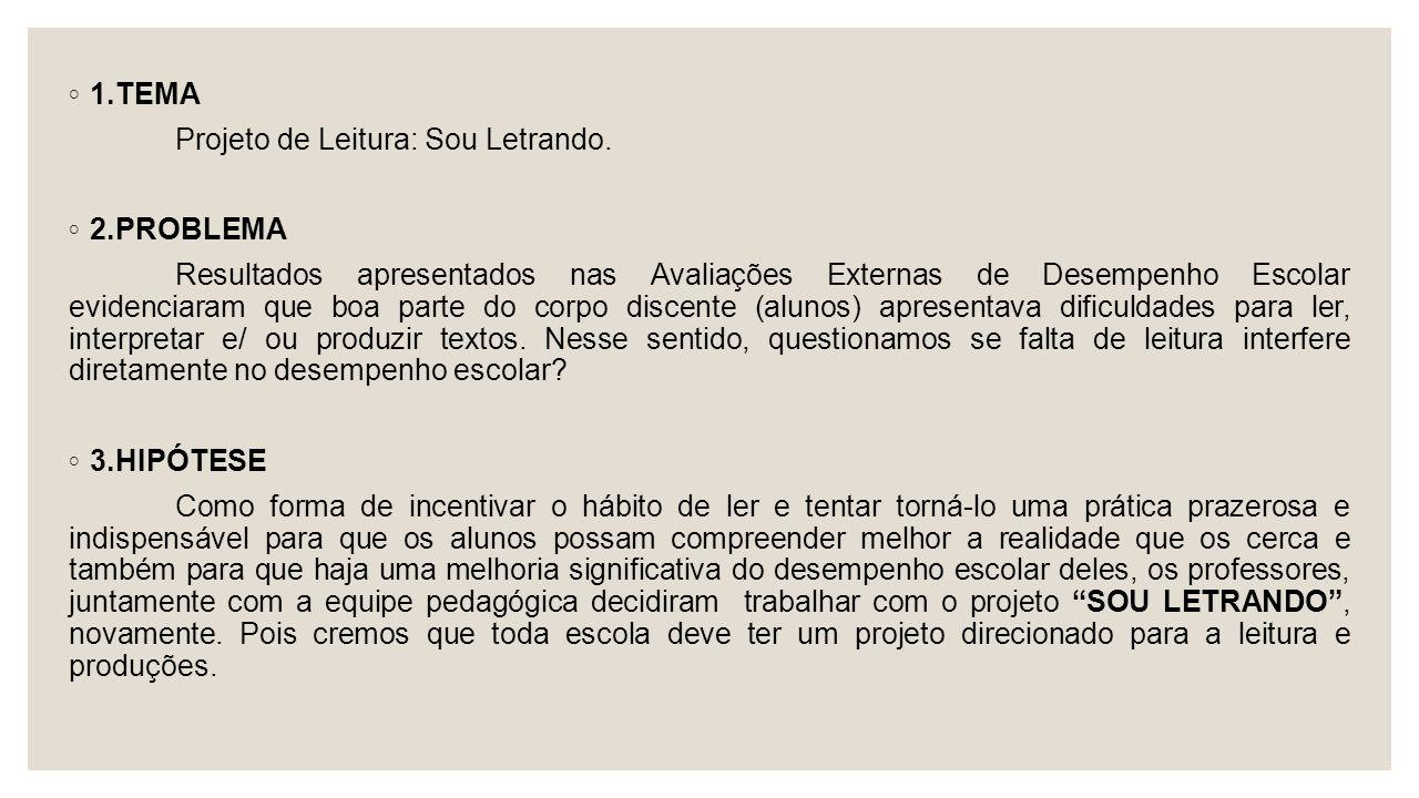 1.TEMA Projeto de Leitura: Sou Letrando. 2.PROBLEMA.