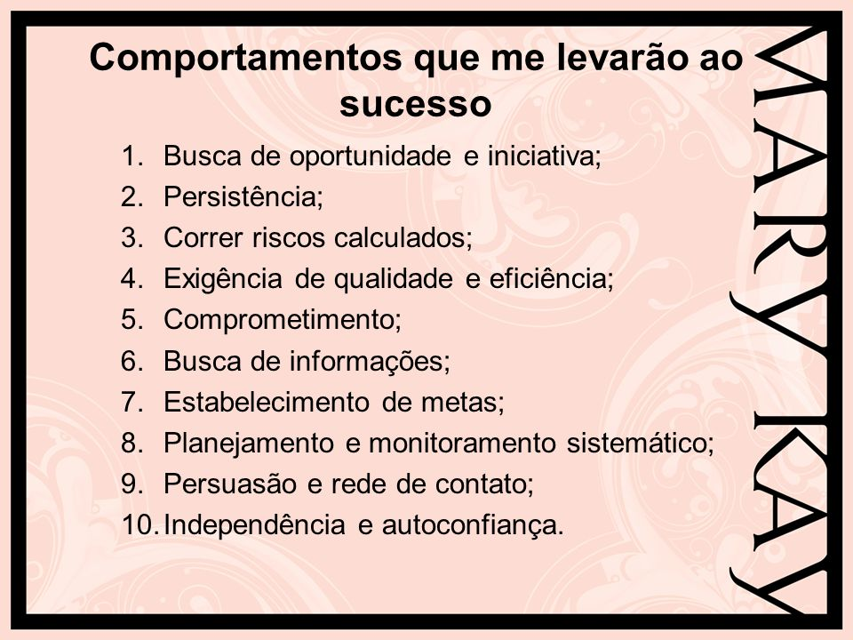 Comportamentos que me levarão ao sucesso